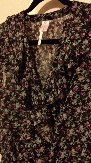 Julie and Jewel Top sheer black with pink, white and green petite floral pattern