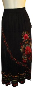 Anu by Natural Embroidered Tassel Fringed Boho Onm005 Maxi Skirt black multi
