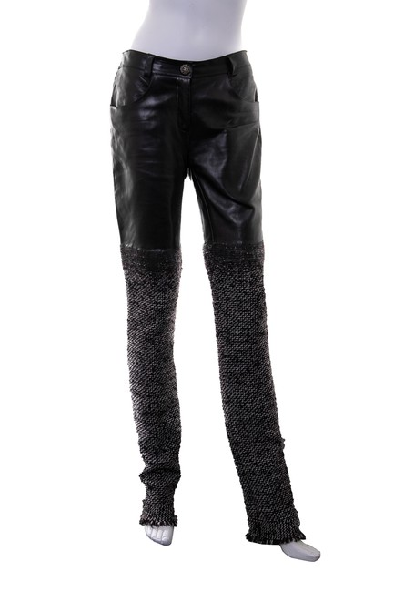 Item - Black Leather & Tweed Pants Size 8 (M, 29, 30)