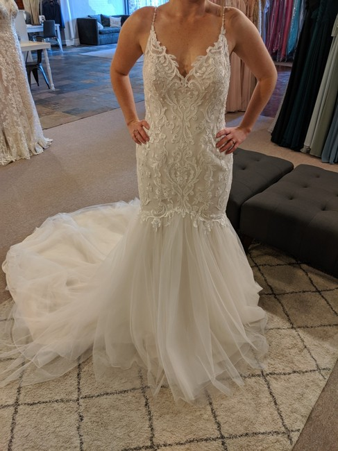 Item - Ivory/Soft Blush Tulle and Lace Fawn-9rt088 Traditional Wedding Dress Size 10 (M)