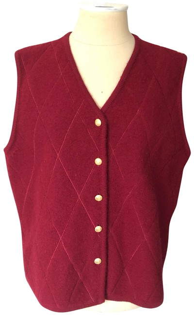 Item - Red Virgin Wool Quilted Vest Size 12 (L)