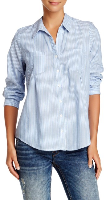 Item - Blue White Cartel Stripe Fitted Button Up Blouse Shirt Pockets Button-down Top Size 8 (M)