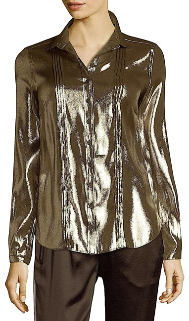 Item - Gold with Tag Metallic Lamé Blouse In Button-down Top Size 12 (L)