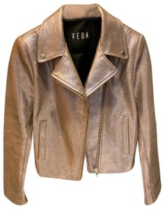 VEDA sparkly silver/metallic Leather Jacket