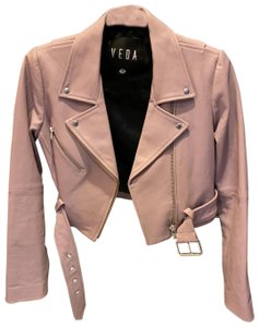 VEDA light lavender Leather Jacket