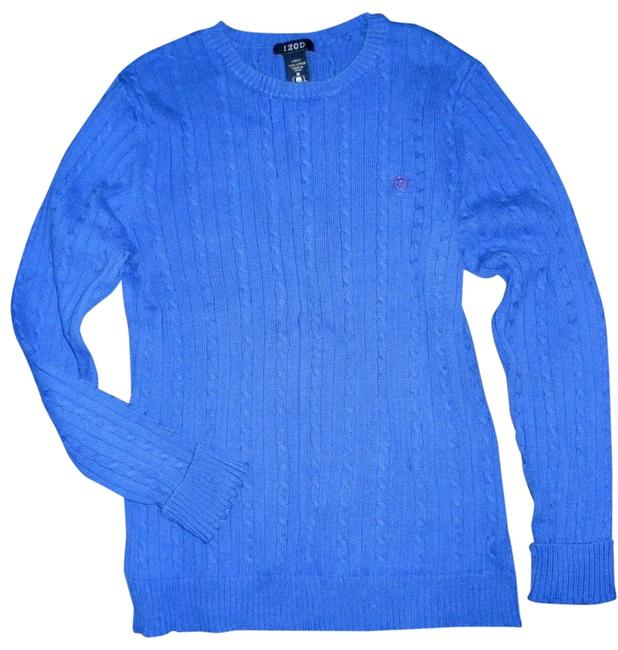 Item - Royal Cable Knit Crew Neck Long Sleeve Blue Sweater