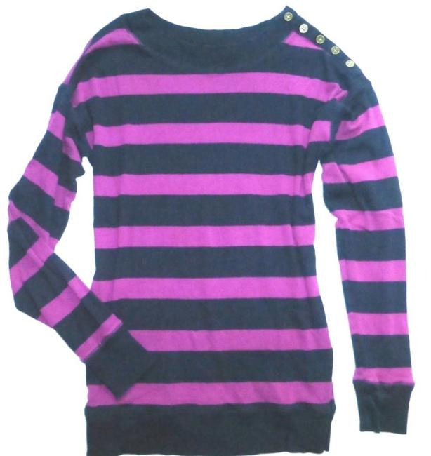 Item - Rugby Striped Purple Button Cotton Fuchsia Navy Sweater