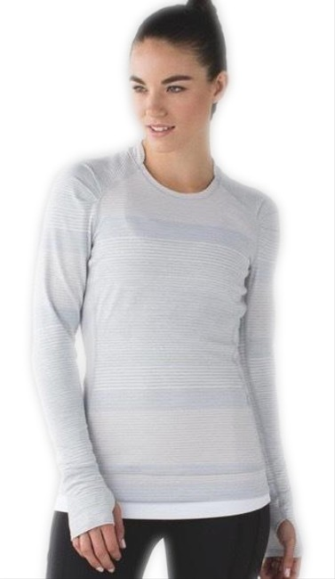Item - Heathered Silver Spoon Multi Think Fast Om Stripe Activewear Top Size 6 (S)