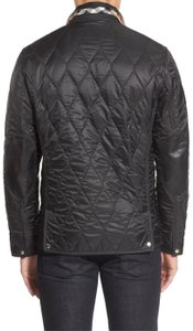 Burberry Brit Mens Quilted Leather Trim Check Classic Check Black Jacket