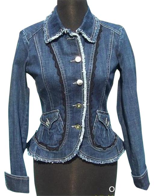 Item - Blue XS Rhinestone Buttons Top New 0/2 Lace Trim Jacket Size 0 (XS)