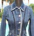 Cache Blue XS Rhinestone Buttons Top New 0/2 Lace Trim Jacket Size 0 (XS) Cache Blue XS Rhinestone Buttons Top New 0/2 Lace Trim Jacket Size 0 (XS) Image 3