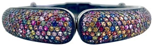 M.C.L by Matthew Campbell Laurenza Sterling Silver, Multicolor Sapphire, and Enamel Hinged Cuff