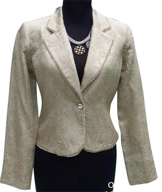 Item - Gold XS Elaborate Brocade Top Jacket Silver Bead Trim 0/2 Blazer Size 0 (XS)