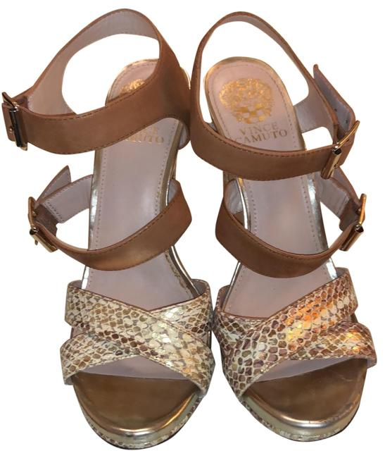 Item - Tan and Gold Wedges Size US 7.5 Regular (M, B)