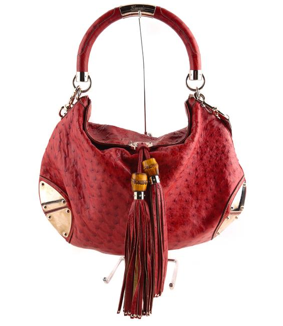 Item - Indy Ostrich Embossed Leather Red Hobo Bag