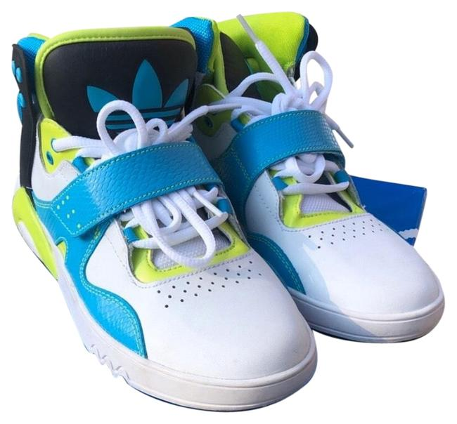 Item - White Blue Lime Green Roundhouse Sneakers Size US 7.5 Regular (M, B)