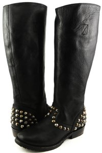 Ash Comfortable Motorcycle Tall Black Boots