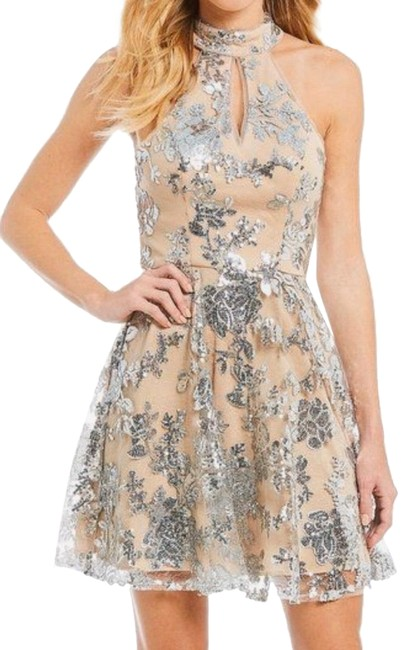 Item - Beige Silver Gianni Bini Halter Sequin Swing Short Night Out Dress Size 6 (S)