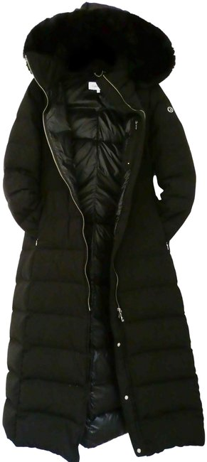 Item - Black L Duck Down Hooded Belted Quilted Coat Size 4 (S)