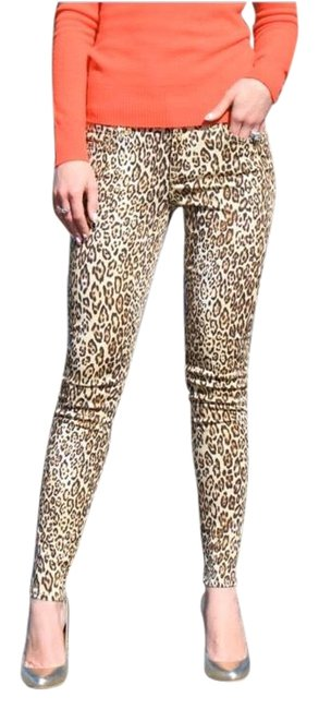 7 For All Mankind Tan Leopard Print Skinny Jeans Size 00 (XXS, 24) 7 For All Mankind Tan Leopard Print Skinny Jeans Size 00 (XXS, 24) Image 1