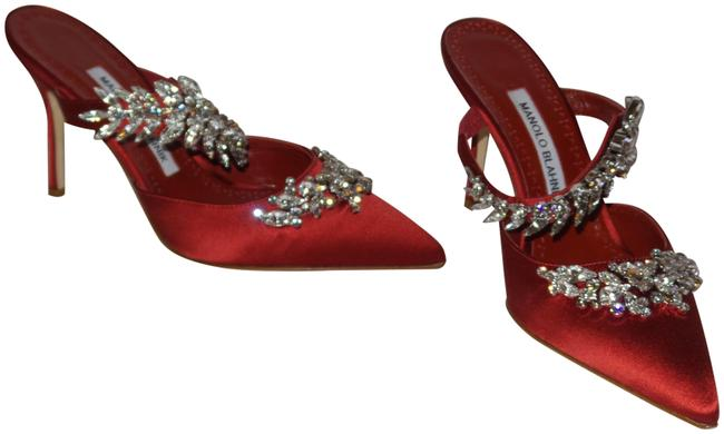 Item - Red Lurum 90 Crystal-embellished Satin Pumps Size EU 36 (Approx. US 6) Regular (M, B)