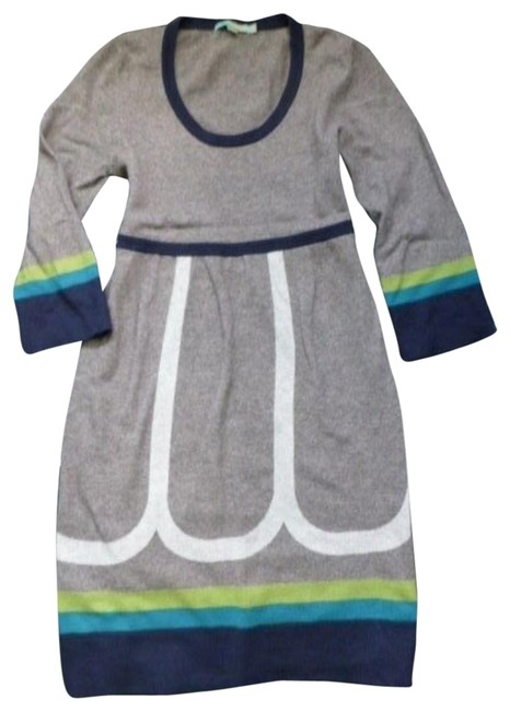 Item - Gray Blue Turquoise Lime Navy Cashmere Blend Sweater Tunic Short Casual Dress Size 8 (M)