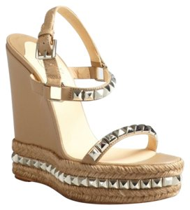 Christian Louboutin Studded Leather Sandal Sandals Beige Wedges