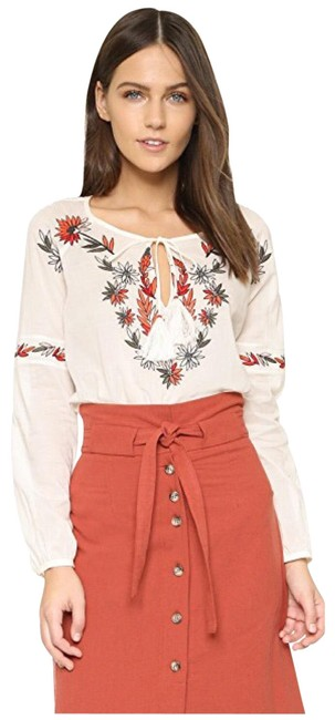Item - Ivory Embroidered Peasant Tassel Blouse Size 2 (XS)