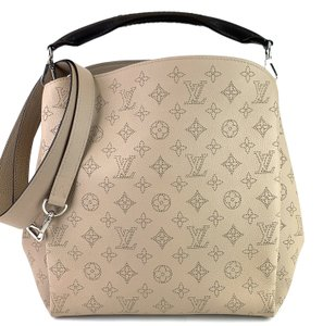 Louis Vuitton Monogram Leather Shoulder Strap Silver Tall Tote in Galet Beige