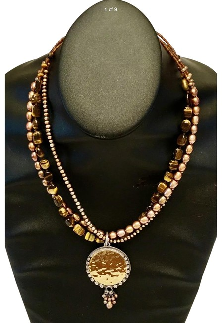 Item - Bronze Tiger Eyes Pearls with Brass Pendant Necklace