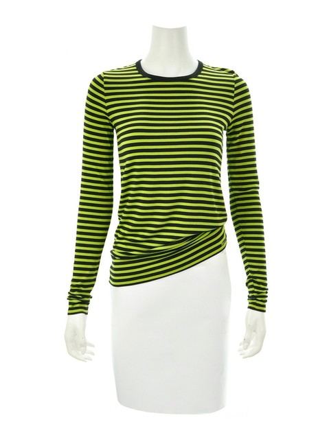 Item - Green & Black Striped Long Sleeved S Tee Shirt Size 4 (S)
