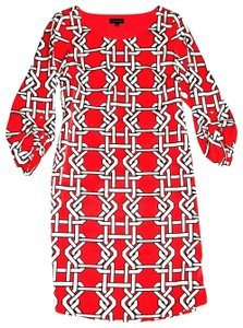 The Limited short dress Coral Lattice Print 3/4 Button Up Sleeve Shift Fully Lined on Tradesy