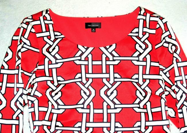 The Limited short dress Coral Lattice Print 3/4 Button Up Sleeve Shift Fully Lined on Tradesy Image 1