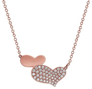 Omi Jewelry 18K Rose Gold Hearts Pendant Women's Necklace With 0.53 CT Diamonds