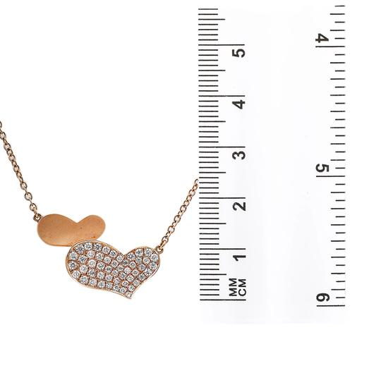 Omi Jewelry 18K Rose Gold Hearts Pendant Women's Necklace With 0.53 CT Diamonds Image 3