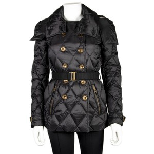 Burberry Nylon Diamond Pattern Adjustable Belted Women's Hook Stretch Pea Coat