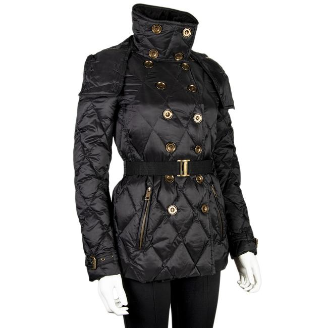 Burberry Nylon Diamond Pattern Adjustable Belted Women's Hook Stretch Pea Coat Image 2