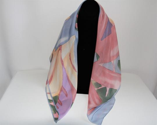 Anne Klein Beautiful Vintage Anne Klein for Vera Square Silk Flower Scarf Image 7