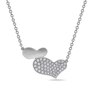Omi Jewelry 18K White Gold Hearts Women's Necklace With 0.54 CT Diamonds