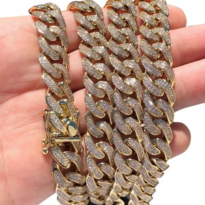 Harlembling Harlembling 14k Gold Plated Diamond 12mm Cuban Link Chain