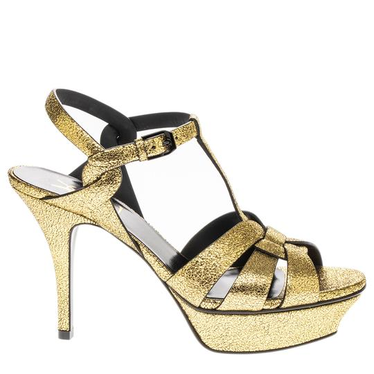Saint Laurent Heels Leather Regular Gold Pumps Image 2
