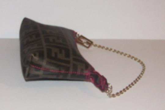 Fendi Large F Logo Mint Condition Tobacco Gold Chain Strap/Fob Hot Hobo Pouch Satchel in brown Zucco print Image 5