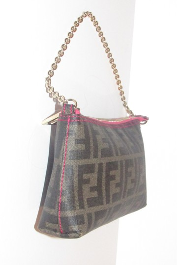 Fendi Large F Logo Mint Condition Tobacco Gold Chain Strap/Fob Hot Hobo Pouch Satchel in brown Zucco print Image 9