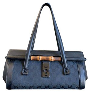 Gucci Tom Ford Monogram Leather Canvas Satchel in Black