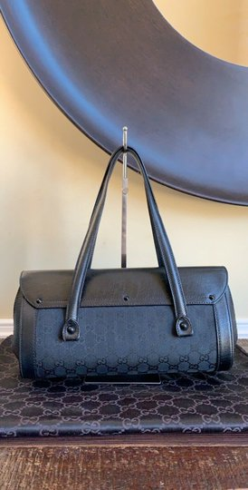 Gucci Tom Ford Monogram Leather Canvas Satchel in Black Image 2