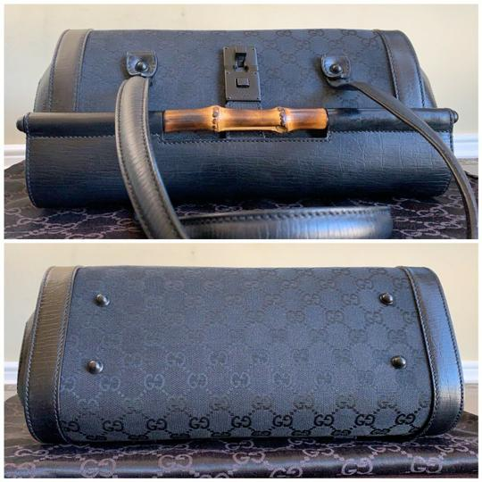Gucci Tom Ford Monogram Leather Canvas Satchel in Black Image 5
