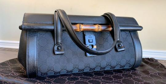 Gucci Tom Ford Monogram Leather Canvas Satchel in Black Image 7