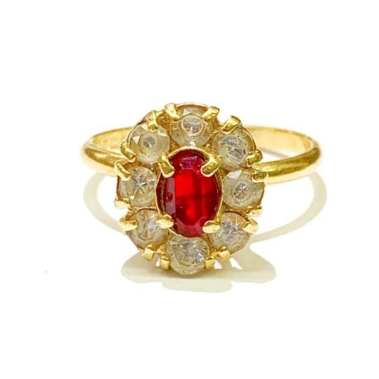 Other BEAUTIFUL!! GENUINE DEWITT ESTATE COLLECTION!! 18 Karat Yellow Gold, CZ and Synthetic Ruby Ring Image 3