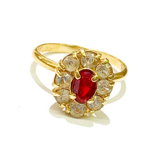 Other BEAUTIFUL!! GENUINE DEWITT ESTATE COLLECTION!! 18 Karat Yellow Gold, CZ and Synthetic Ruby Ring Image 4