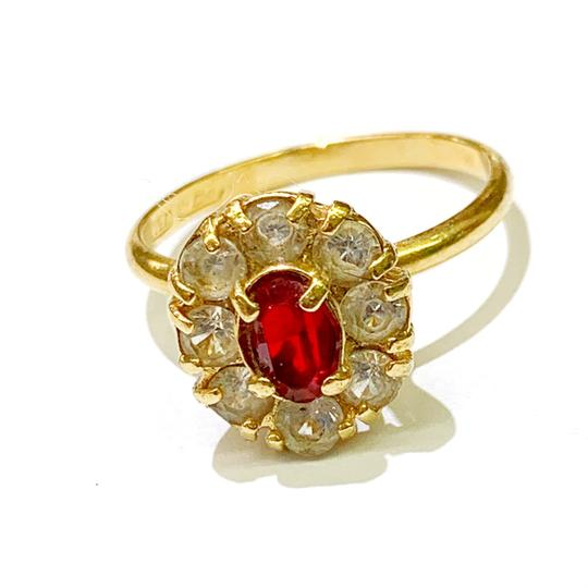 Other BEAUTIFUL!! GENUINE DEWITT ESTATE COLLECTION!! 18 Karat Yellow Gold, CZ and Synthetic Ruby Ring Image 5